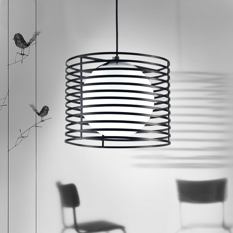 Modern minimalist personality black and white single head glass ball Iron Chandelier Lamp Lamp bedroom study creative restaurant contemporary and contracted creative personality retro art glass chandelier cafe restaurant study lamps act the role of milan