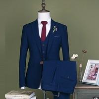 2018 New Blue Men Suit Best Man Suit Slim business career Groomsman Men's Wedding/Prom Suits latest coat pant Vest designs man