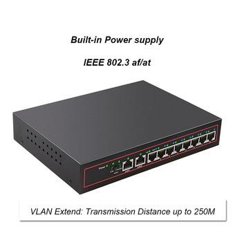 10 Port POE Switch 48V 10/100Mbps VlAN Network Ethernet Switch Full/Half Duplex Switch Ethernet for POE IP CCTV Camera poe switch 8 port network switches hub full duplex