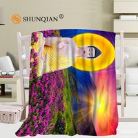 Custom Guanyin Buddha Pattern Travel Blanket Home TV Casual Relax for Family Soft Fluffy Warm Blanket