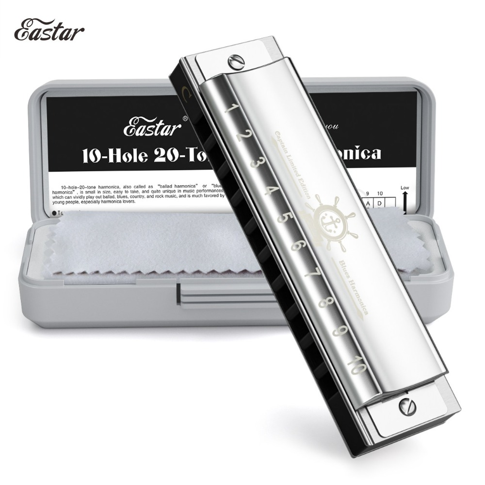 Eastar Captain Blues Harmonica 10 Holes C Key Harmonica Musical Instrument With ABS Case High Quality