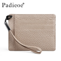 Padieoe New Designer Genuine Leather Credit Card Holder Women Business Female Slim Card Wallet Small Cardholder Women Luxury