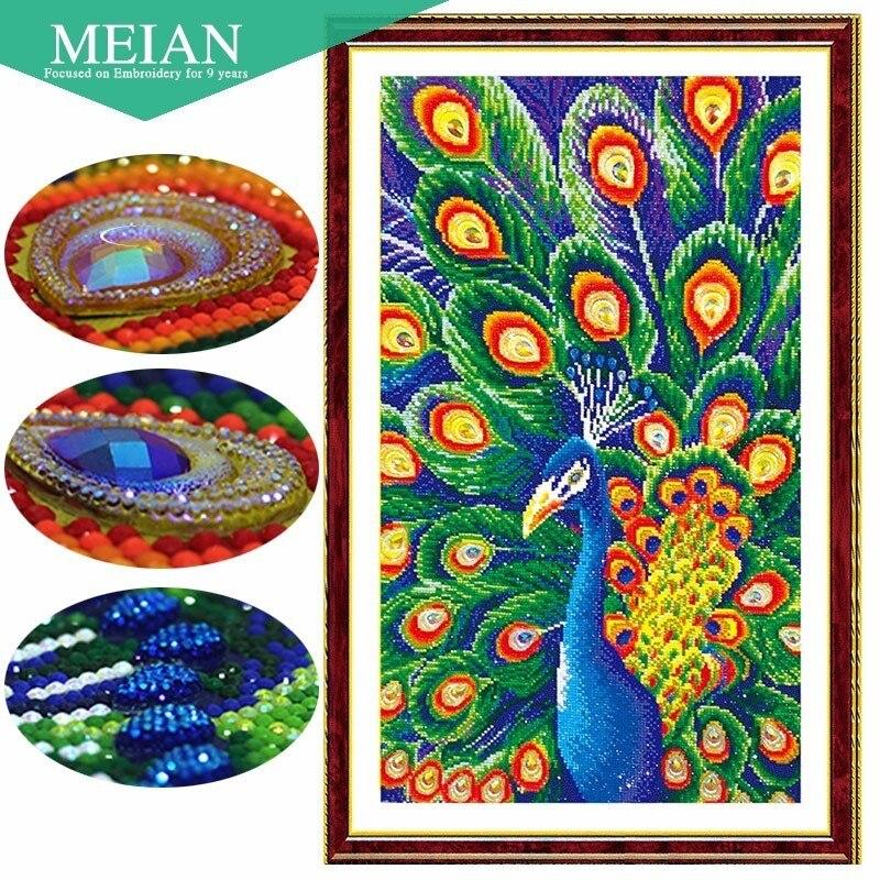 Meian,Special Shaped,Diamond Embroidery,Animal,Peacock,Full,DIY,Diamond Painting,Cross Stitch,Diamond Mosaic,Bead,Picture Decor