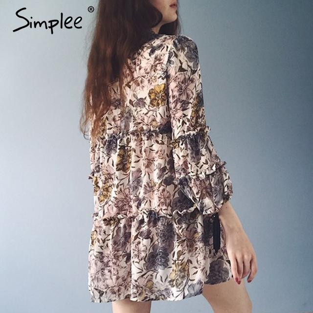 Simplee Boho print tassel chiffon summer dress Ruffle hollow out long sleeve short dress Vintage loose women dress vestidos