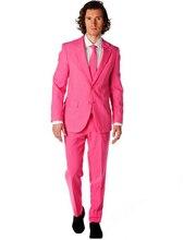 Новое поступление, смокинги для жениха на выпускной или вечеринке по индивидуальному заказу, свадебные костюмы розового цвета для мужчин (пиджак + штаны + галстук)