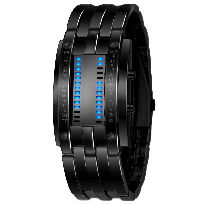 Prix pour De luxe Lovers Montre-Bracelet Étanche Hommes Femmes En Acier Inoxydable Bleu Binaire Lumineux LED Électronique Affichage Sport Montres De Mode