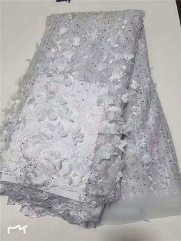 Wedding Dress French Tulle Lace beads Handmade 3d flowers Net Lace High Quality Embroidered Nigerian Laces Fabric For Bridal