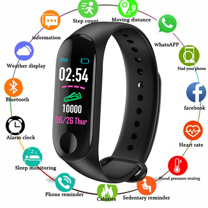 M3 Plus Sports Fitness Smart Bracelet Blood Pressure & Heart Rate Monitor Smart Band Wristband Step Counter PK Mi Band 3 WatchM3 Plus Sports Fitness Smart Bracelet Blood Pressure & Heart Rate Monitor Smart Band Wristband Step Counter PK Mi Band 3 Watch