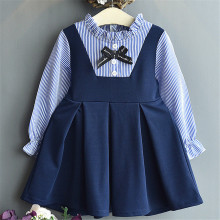 2019 Autumn LOng Sleeve Girls Dresses Kids Children Clothes Western Striped Bow Preppy Style Dress Spring Clothing New