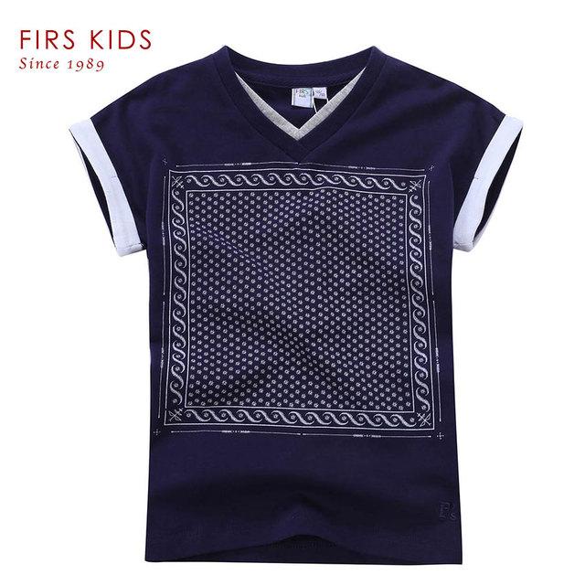 Firs crianças meninos camisa roupas para o menino 2016 nova moda de alta qualidade de impressão verão tops de manga curta t-shirts para os meninos