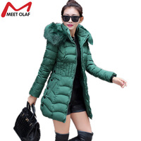 1Pc Women Plus Size Winter Coat Hoodie Fur Collar Long Jackets Middle-aged Female Warm Parkas Lady Slim Hooded Coats Parka YL193