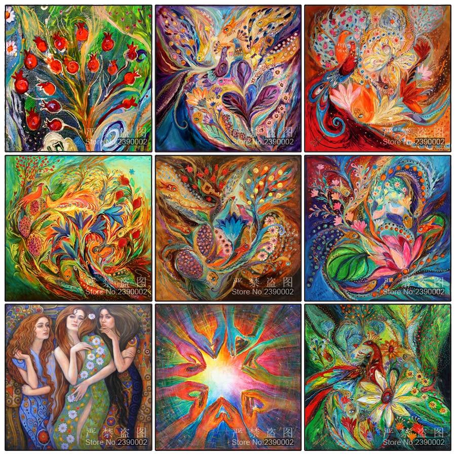 Soyut Resim Sergisi Tavuskuşu Elmas Nakış DIY Iğne 5D Elmas - Sanat, el sanatları ve dikiş
