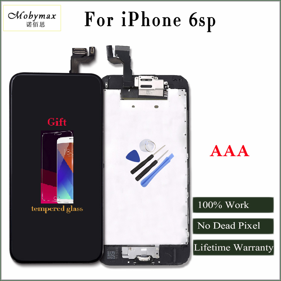 Moybmax 100% factory tested Lcd Screen Digitizer for iphone 6sp Full Assembly Home Button+Front Camera+gifts