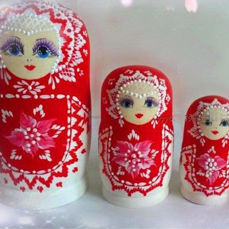 6 couches Mini taille poupées russes Basswood sec peint à la main Matryoshka poupée nidification jouets en bois pas de formaldéhyde L50