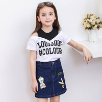Summer Girls Skirts and Tops Fashion Girls Clothes Set Cotton T shirts and Denim Skirt 6 8 10 12 14 years girl kids clothing