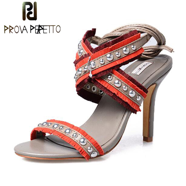 Prova Perfetto Fashion Mixed Color Fringe Thin High Heel Ladies Sandals Shoes Ankle Strap Rivet Studded Women's Dress Shoes fashion designer women high heel sandals mixed color strap cut out pumps heel elegant ladies weeding dress shoes real photo