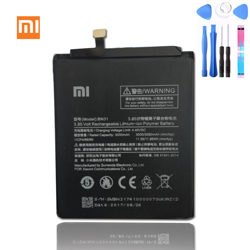 Xiaomi Bn31-Battery Redmi Bn 31 Note-5a Original For 5x/Mi5x/Redmi/.. Real-3000/3080mah