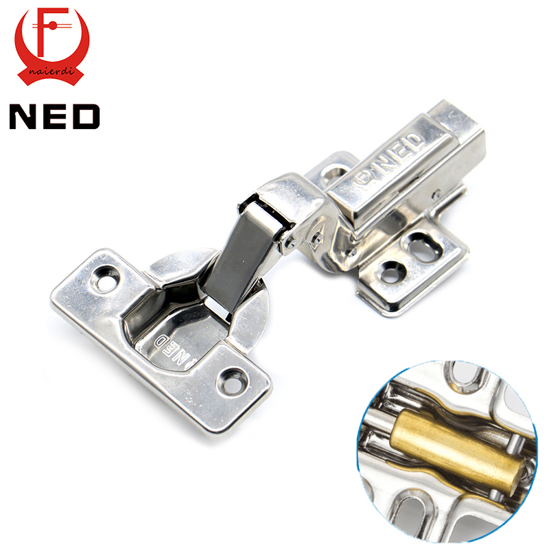 NED Full Size Strong 40MM Cup Hinges Stainless Steel Hydraulic Copper Core Hinge For Cupboard Cabinet Door Furniture Hardware brand ned 90 degree corner fold cabinet door hinges 90 angle hinge hardware for home kitchen bathroom cupboard with screws