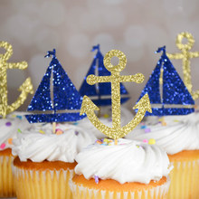 30pcs/lot Birthday Party Cake Topper Nautical Theme Party Decoration Anchor Sailboat Paper Cupcake Decorating Supplies CTB049(China)