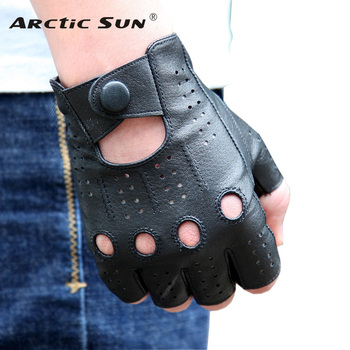 Genuine Leather Semi-Fingers Gloves Male Breathable Hole Thin Style Men Half-Finger Lambskin Gloves Imitation Deerskin M046P high quality half fingers deerskin gloves male locomotive real leather driving gloves men semi finger em088w