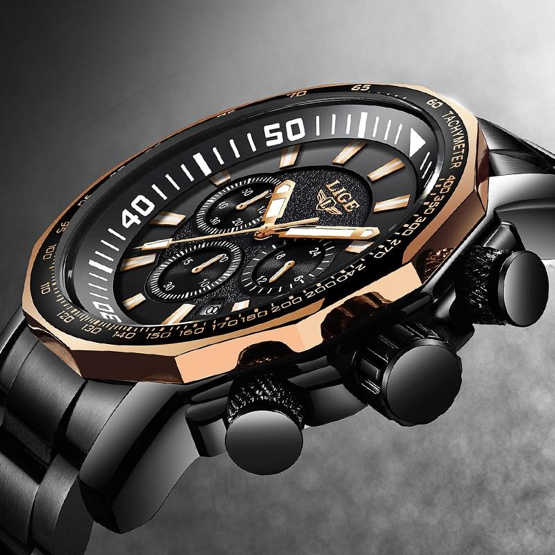 Relogio Masculino 2018 New LIGE модный бренд Для мужчин s часы Полный Сталь Бизнес кварцевые часы военные Спорт Водонепроницаемый часы Для мужчин