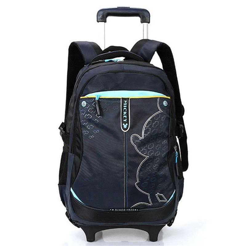 New Cartoon Boy Trolley Backpack School Bags Wheeled Bag Student Detachable Rolling Backpacks Girls Mochila