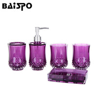 BAISPO Cup Brush Bathroom Set Luxurious Fashion Acrylic Bathroom Set Of Five Pieces Toothbrush Cup Holder