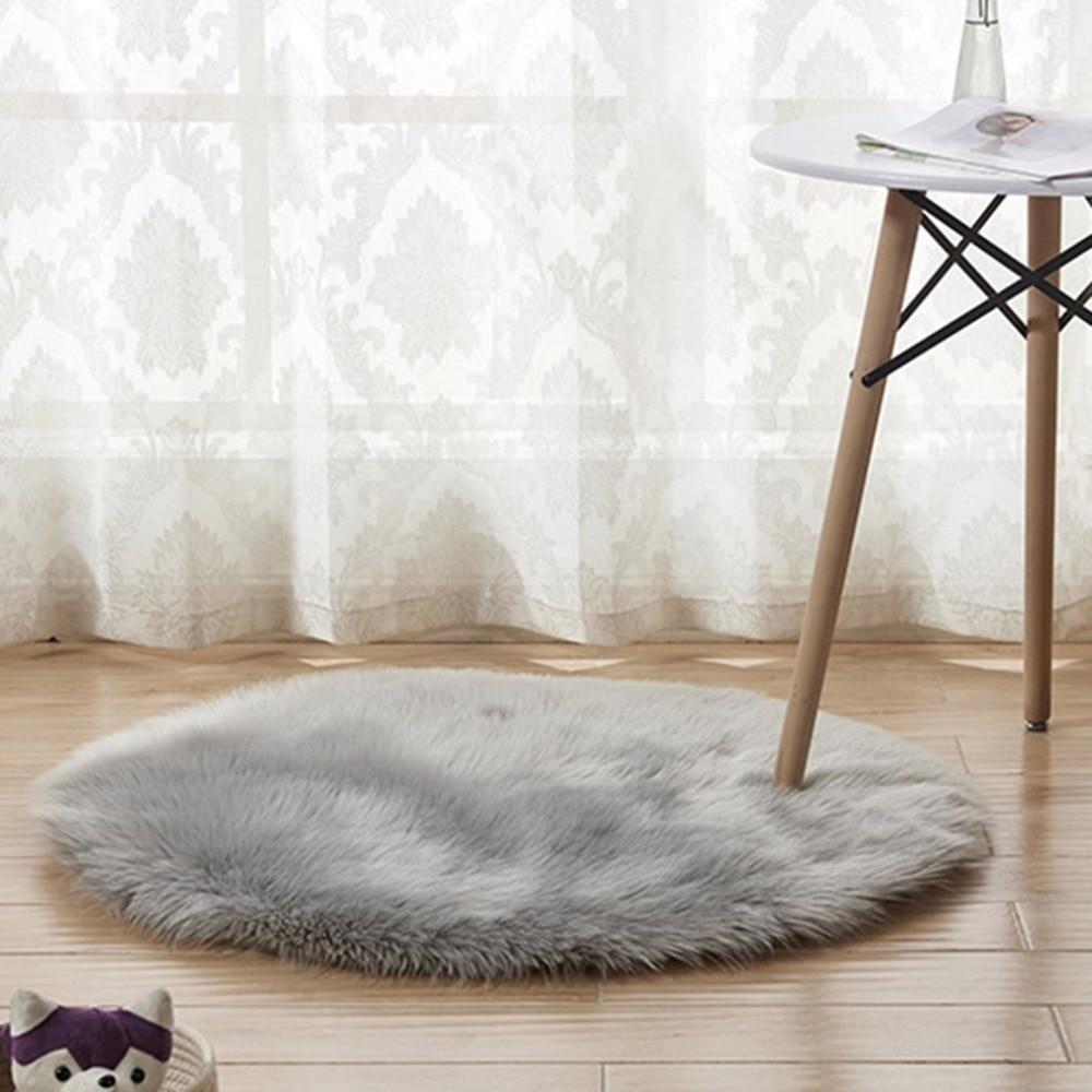 Shaggy Throw Rug: Modern Plush Round Shape Carpet Throw Rug Anti Skid Shaggy