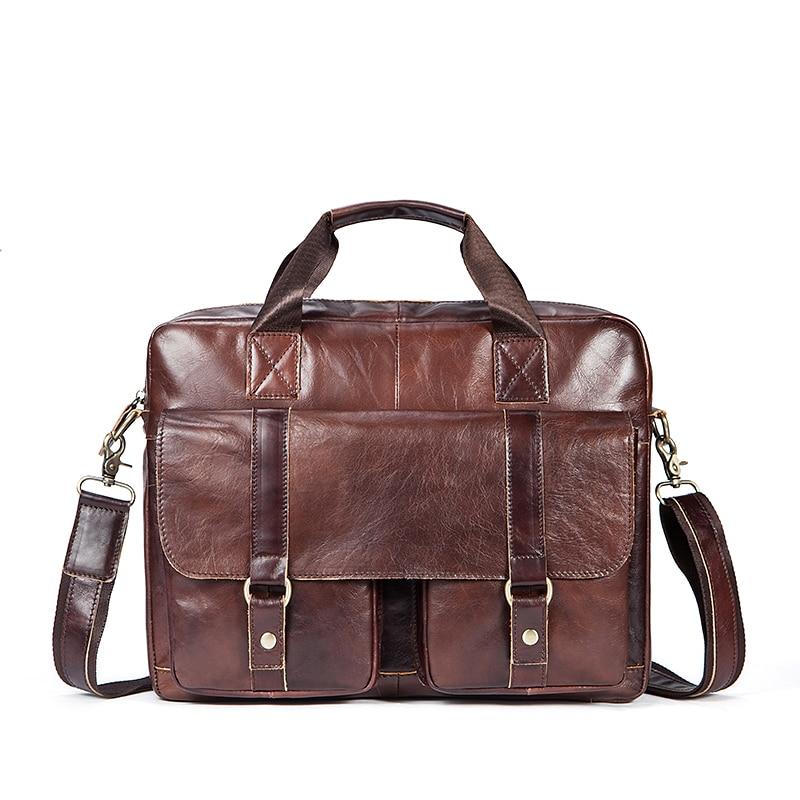 New Fashion Men's Briefcases Genuine Leather Men Bags Men Shoulder Business Laptop Bag Crossbody Bag Male Leather Messenger Bag