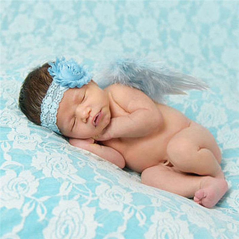 0-6 Months Summer Newborn Photography Props Baby Girls Angel Feather Wings Costume Handmade Outfits