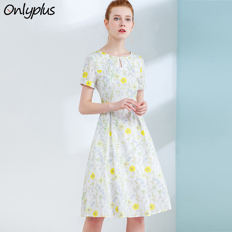 ONLY PLUS 2018 Fashion Summer Cotton Print Dress Short Sleeve Pocket Casual A-Line Women Dress Sexy Neckline Knee Length Dresses