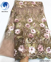 Beautifical 3d french lace fabric flower embroidered mesh with beads 5yards/piece for dress 38N10