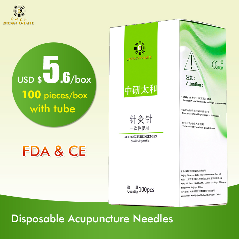 100pcs / box Zhongyan Taihe Needle Acupuncture Needle jarum jarum jarum dengan tiub