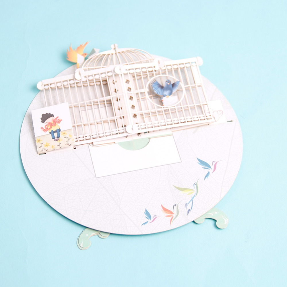 New 3d Pop Up Birdcage Greeting Card Table Birthday Wedding Postcard