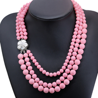 Charms różowy sztuczne coral kule 3 wiersz łańcucha naszyjnik zapięcie powłoki naszyjnik kobiety biżuteria 17-19 cal B2917