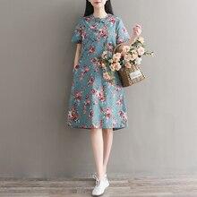 Mori Girl, хлопковое и льняное летнее платье, новинка, женское платье Ципао с цветочным принтом, с карманами, воротник-стойка, винтажное платье, M-XXL