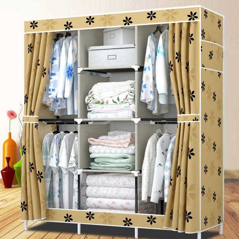 Simple tissu imperméable Oxford tissu armoire pliante en acier fer placard vêtements jouets serviette rangement armoire chambre meubles