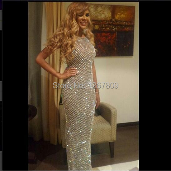 2020 New Custom Made full Crystal Beading Sheath Celebrity Dresses Wome Evening Gown 1
