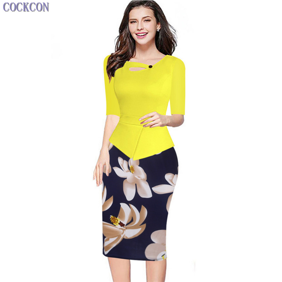 COCKCON Women Elegant O-Neck Colorblock Contrasting Casual Work Business Office Drapped Fitted Bodycon Pencil Dress