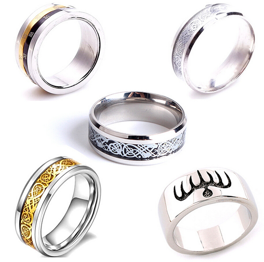 Free shipping Mens Stainless Steel Ring Fashion Cool Design Turnable Style Party Ring Wholesale