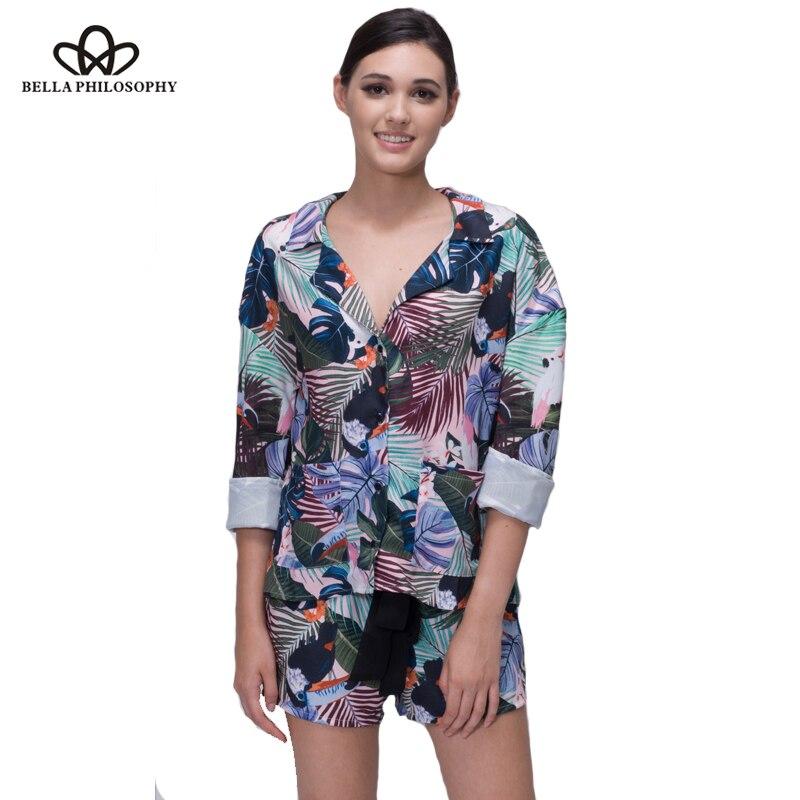 Bella Philosophie 2018 Frauen Sommer tropischen Blumen Vögel drucken - Damenbekleidung - Foto 3