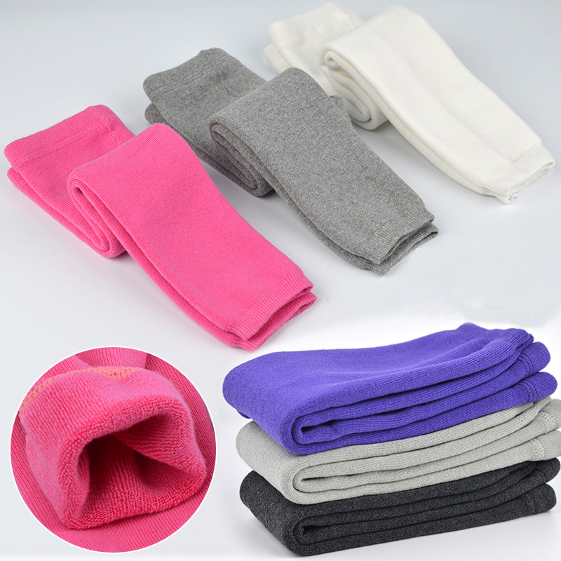 0-24m Baby Winter Legging Solid Color Mid Waist Elastic Waist Kids Pants For Winter 12 Colors