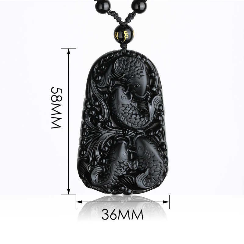 自然な黒黒曜石 3D 彫刻チェーン 4 魚ペンダント幸運のお守りネックレスペンダント女性男性ファッションジュエリー