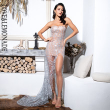 Amor & Limonada Sexy Prata Strapless Cut Out Geométrica Elemento Glitter Colado Material Bodycon Maxi Dress LM81530(China)