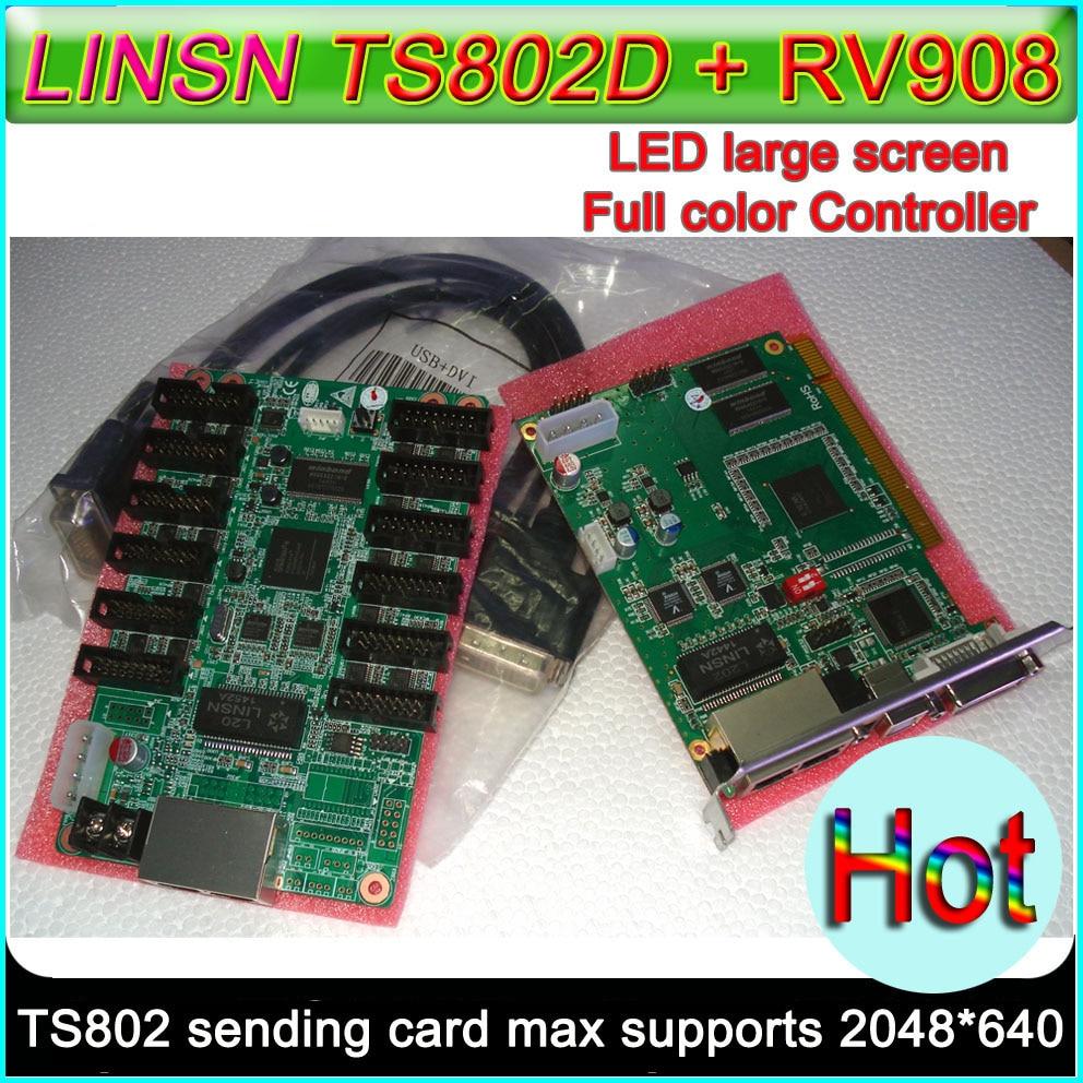 Carte de contrôle synchrone LINSN, carte d'envoi TS802D + carte de réception RV908 2 pièces, carte de contrôle d'écran d'affichage couleur LED