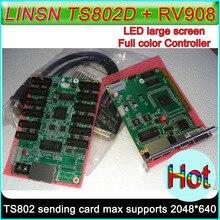 LINSN סינכרוני בקרת כרטיס, TS802D שליחת כרטיס + 2 pcs RV908 קבלת כרטיס, מלא צבע LED תצוגת מסך בקרת כרטיס