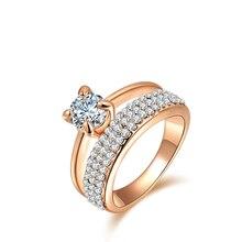 Микро-ввел anillos, австрийский кольца, окружающей обручальные позолоченные хрусталь изделия ювелирные мода