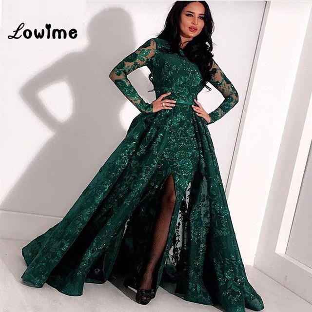 c92f2cb5c45a9 US $187.95 25% OFF|Emerald Green Lace Evening Dress With Detachable Skirt  Mermaid Arabic Prom Gowns Dubai Kaftan Saudi Women Long Prom Dresses  2019-in ...