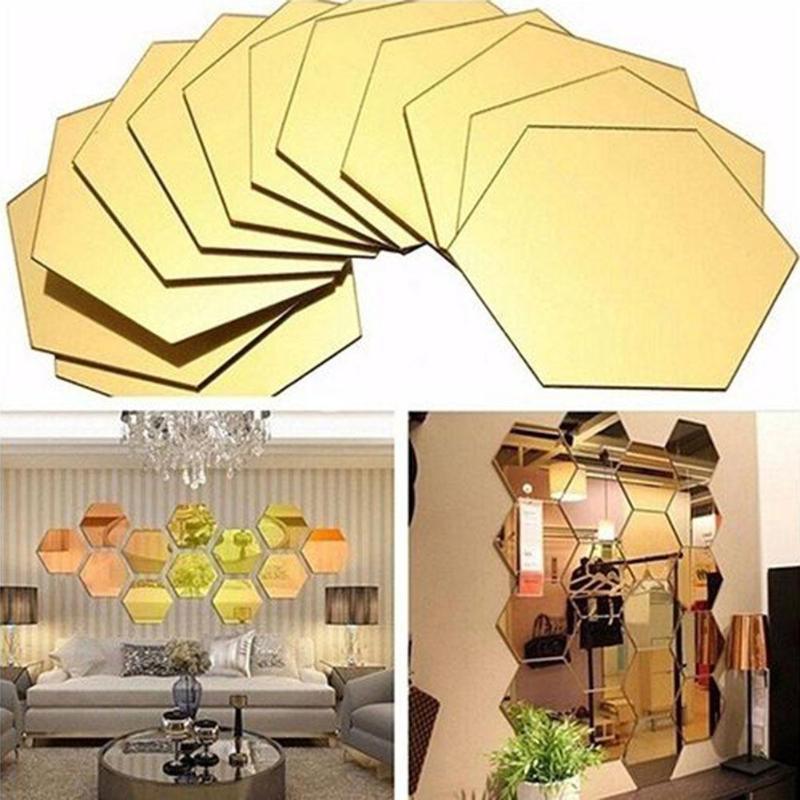 12 шт 3D Шестигранная акриловая зеркальная Настенная Наклейка s DIY Художественный настенный Декор стикер s домашний декор зеркальная декоративная наклейка для гостиной|Наклейки на стену|   | АлиЭкспресс