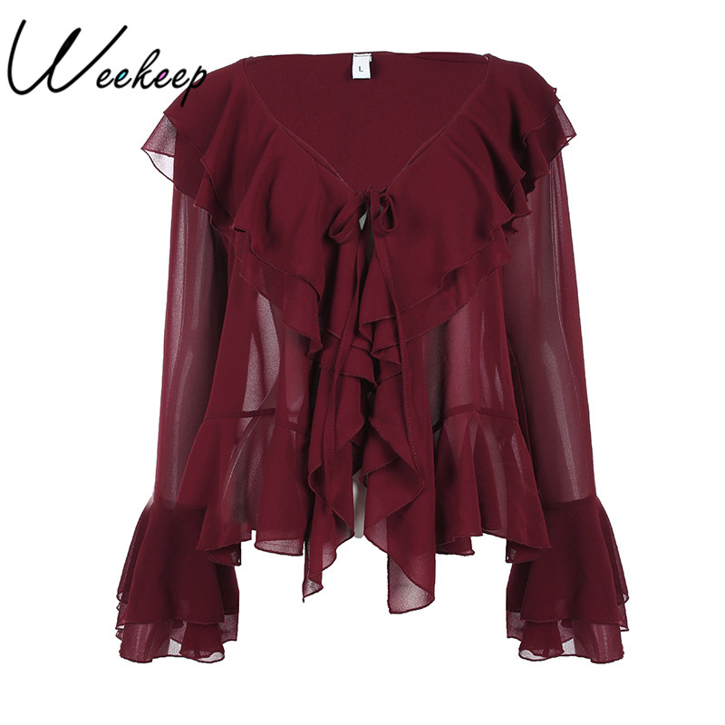 Weekeep Women New Ruffles Flare Long Sleeve V-neck Chiffon Blouse 2017 Sexy Womens Tops And Blouses Shirts